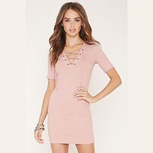Forever21 Pink Ribbed Lace-Up Bodycon Dress